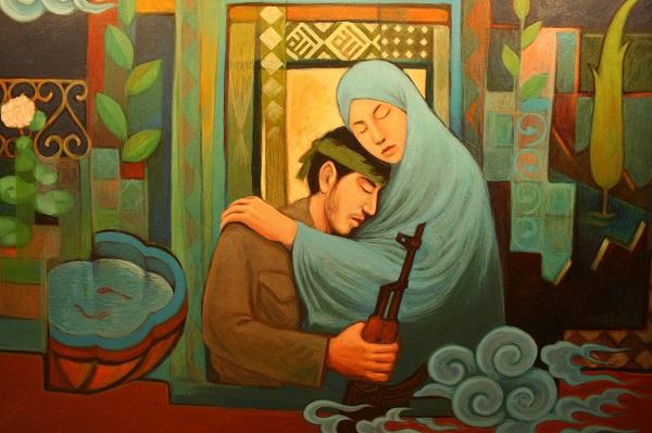 نقاشی مکه از تابلوهای نقاشی با موضوع دفاع مقدس رونمایی شد+تصاویر
