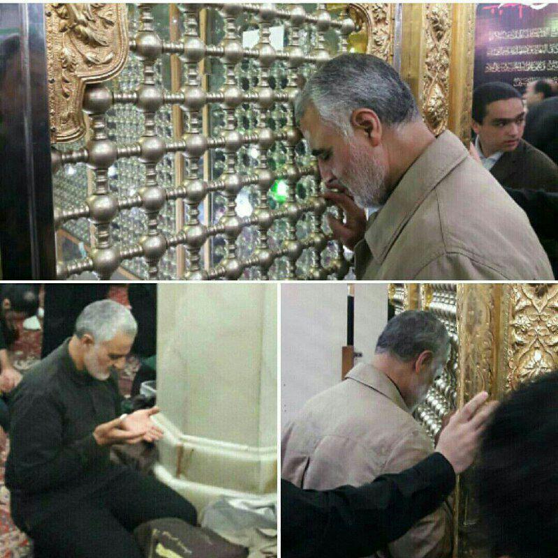 عکس/ حضور سردار سلیمانی در آستان مقدس امامزاده پنج تن