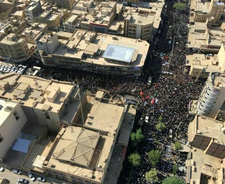 عکس هوایی از تشییع با شکوه شهدای حمله تروریستی اهواز