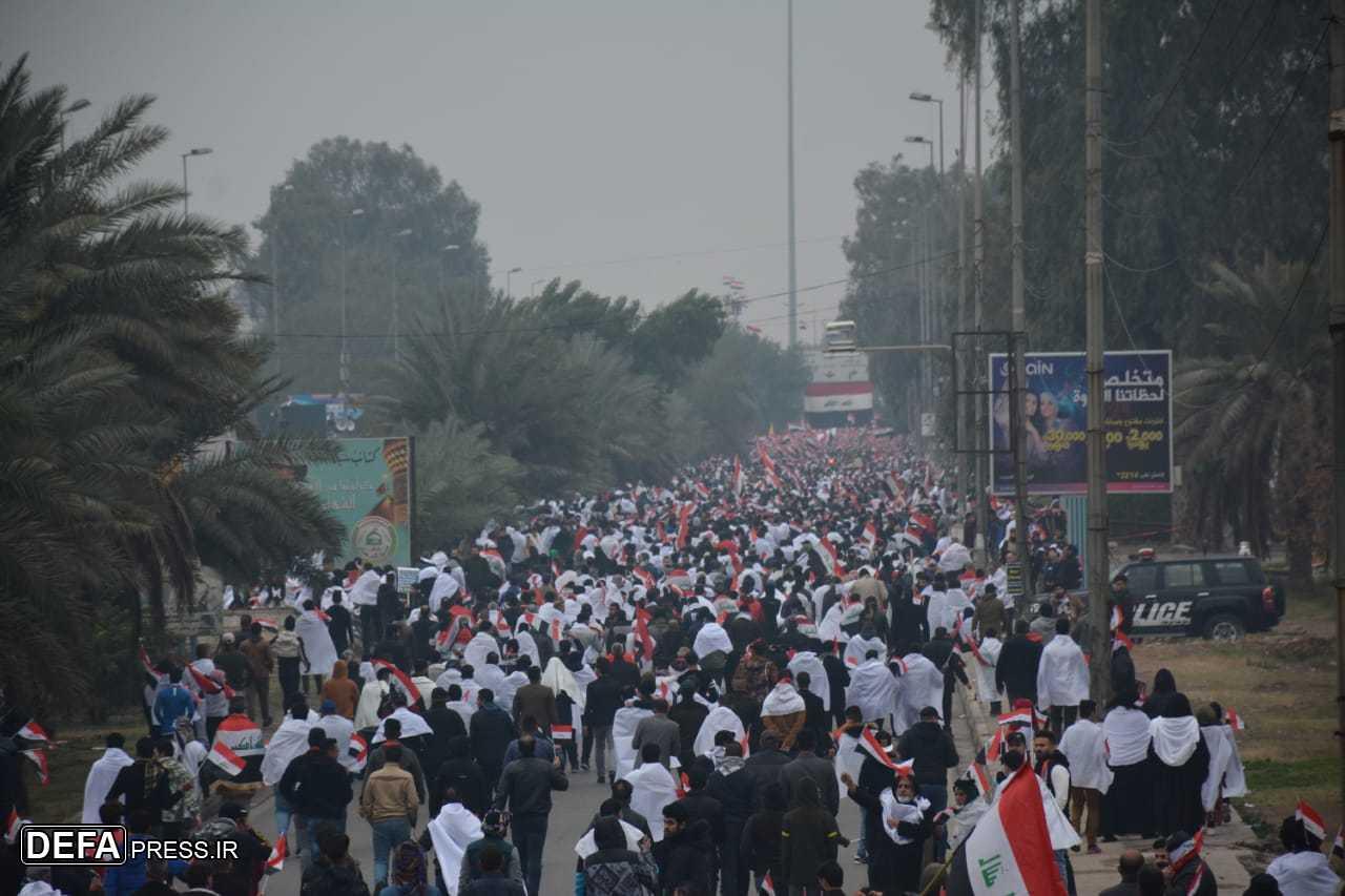 تظاهرات میلیونی ملت عراق علیه اشغالگری آمریکا/ شعار عراقیها «آمریکا بیرون برو»