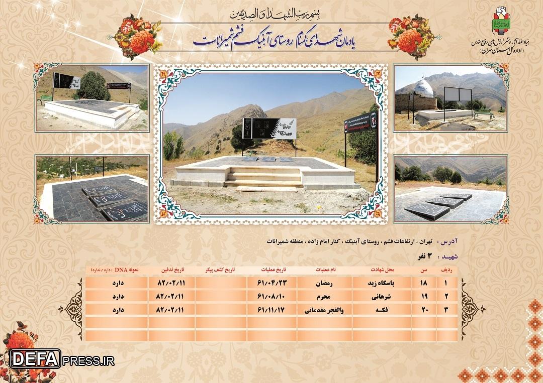 اینفوگرافیک/ یادمان شهدای گمنام «روستای آبنیک فشم شمیرانات»